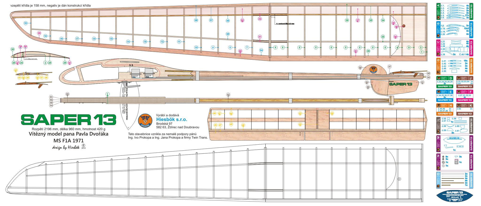 Free Flight Sap 233 R 13 Airplanes Model Kits